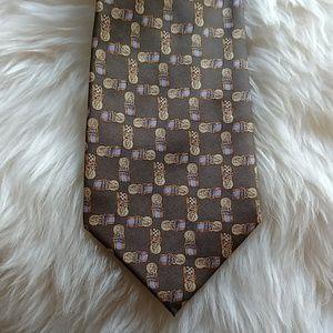 Burberry Brown Pattern Silk Tie